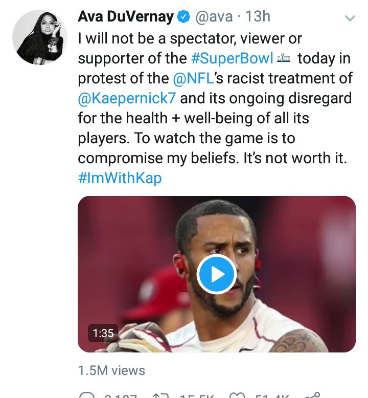 Scores of Twitter users align with Ava DuVernay as she boycotts the Super Bowl due to the NFL