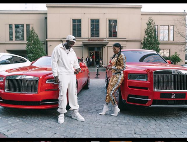 Gucci Mane and wife Keyshia Ka'Oir pose with their Royce Rolls (Photos)