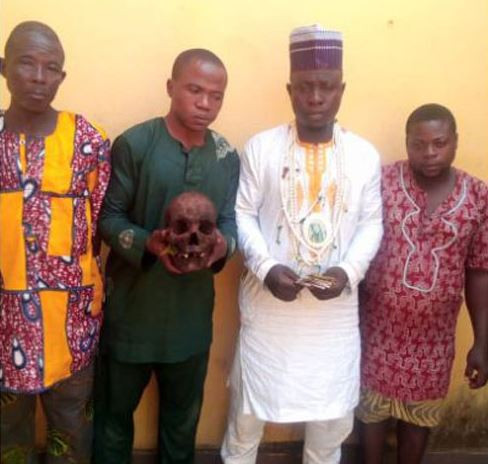 Photo:?Islamic cleric, three others arrested with human skull in Ogun State