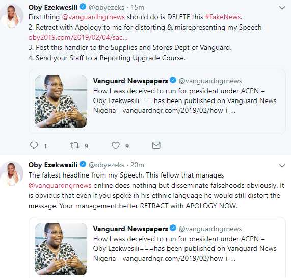 Between Oby Ezekwesili, Shehu Sani and their appetites for politics and fake news