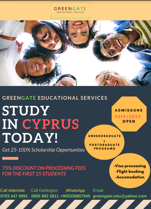 Study in Cyprus. Admissions ongoing. Fast and Efficient! ENROL NOW!! 75% discount on processing fees for the first 25 students!!!