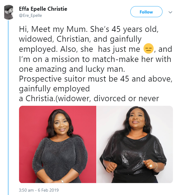 Woman takes to Twitter to search for a husband for her widowed mum