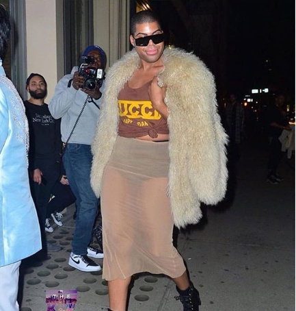 EJ Johnson steps out in a sheer skirt