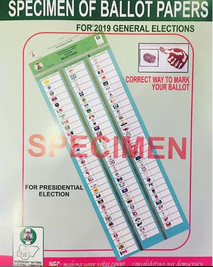 #NigeriaDecides2019: INEC releases specimen of ballot papers ahead of the general?elections