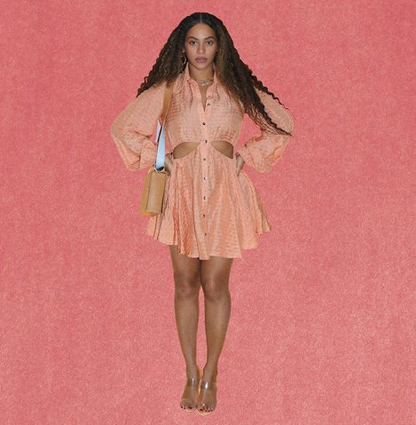 Beyonce dazzles in two different peach colored outfits (photos)