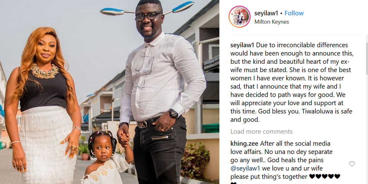 Sad! Comedian Seyi Law announces the end of his marriage to wife of 8 years, Stacy