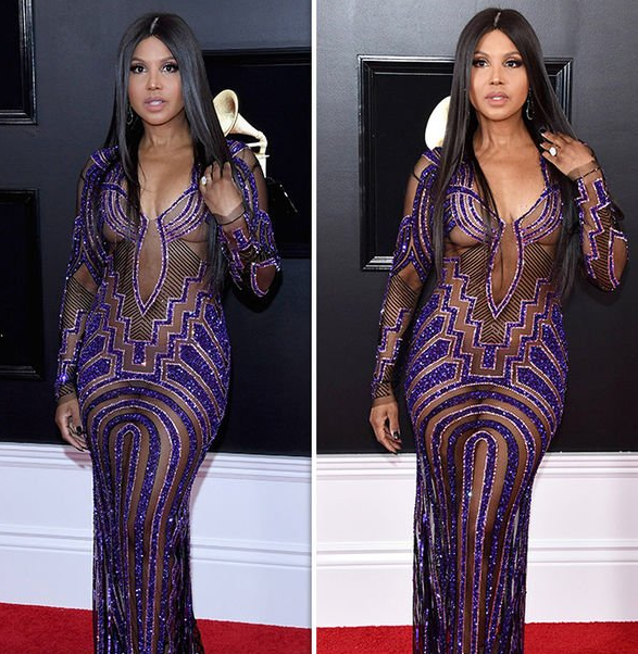 Toni Braxton exposes nipples in see-through dress as she bares all at the 61st Grammy Awards