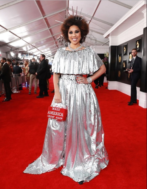 Joy Villa arrived at the Grammys wearing a pro-Trump dress made to look like a wall with barbed wire