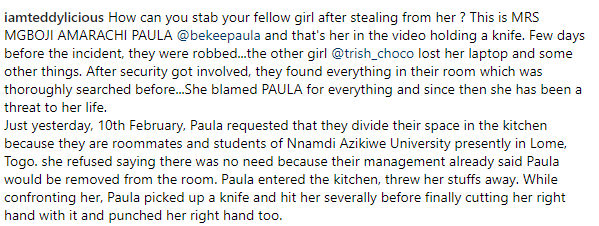 Nigerian lady is accused of stealing from her roommate then stabbing her after she confronted her in Nnamdi Azikiwe University (video)