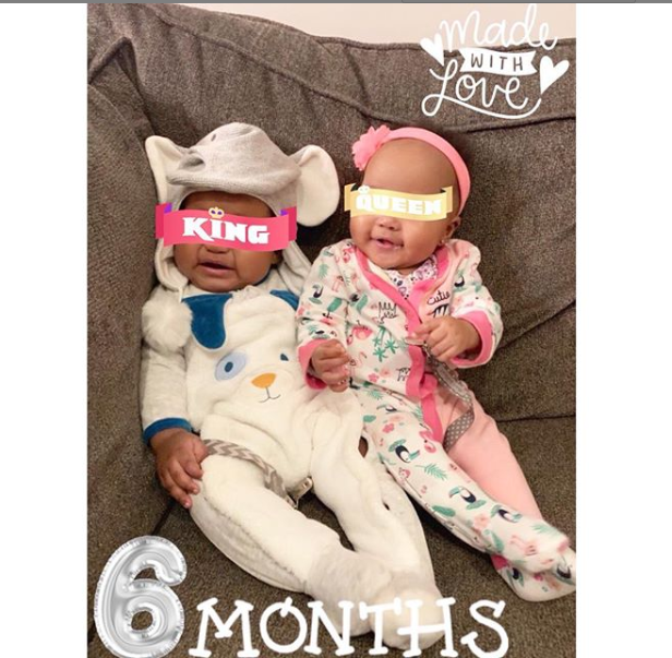Emma Nyra shares adorable photo of her twins Alexandr?a & Alexander as they clock 6months