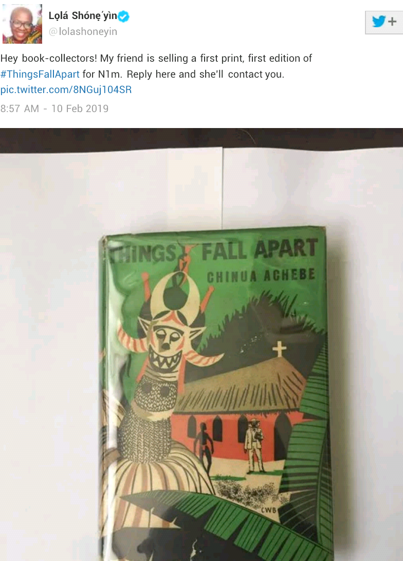 Anonymous book-collector buys a first print, first edition of Chinua Achebe