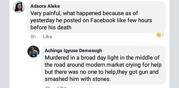 Photos: Young man stoned to death by suspected cultists in broad daylight in Makurdi