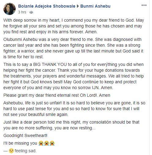Breaking: Sport journalist, Bunmi Ashebu dies after months of battle with stage 4