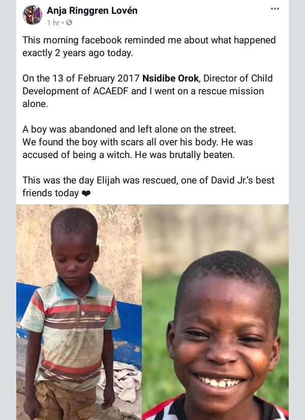 Photos: Young Nigerian boy healthy and all smiles two years after he was branded a witch, brutally beaten and abandoned on the street