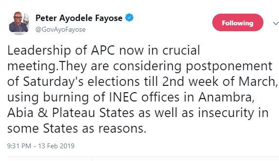 APC leaders now in a crucial meeting?considering postponement of Saturday