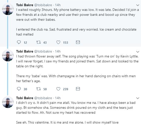 Valentine's Day, BBNaija's Tobi Bakre reveals his saddest Valentine's day experience