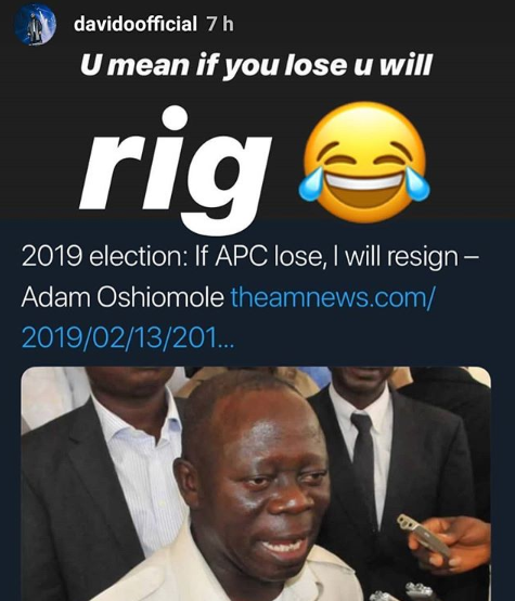 Elections: Davido trolls Adams Oshiomole on IG
