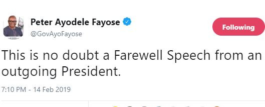 This Is No Doubt A Farewell Speech From An Outgoing President - Fayose Tells President Buhari