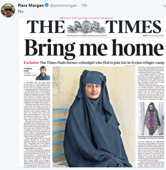 British schoolgirl who joined ISIS with friends is pregnant and wants to return home. See Piers Morgan