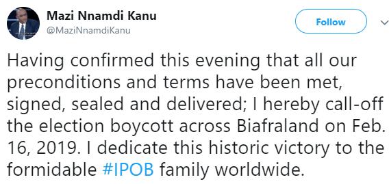 Breaking: Nnamdi Kanu calls of the election boycott plan