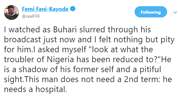 Buhari does not need a second term, he needs a hospital-FFK