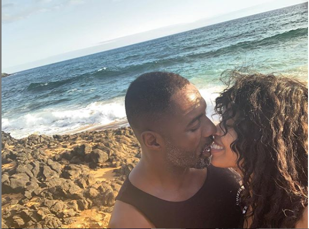 Idris Elba and his fiance Sabrina Dhowre share a kiss as they celebrated Valentine