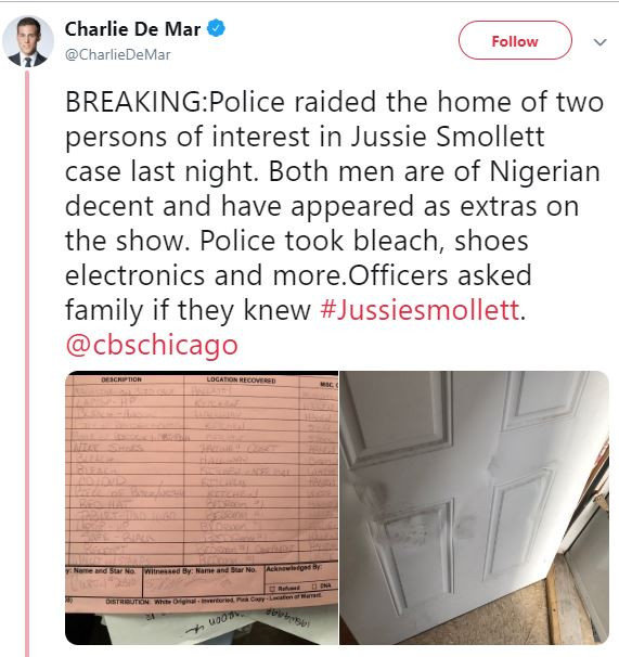 Police raid?the home of two men said to be Nigerians allegedly involved in the homophobic attack against?Jussie Smollett?