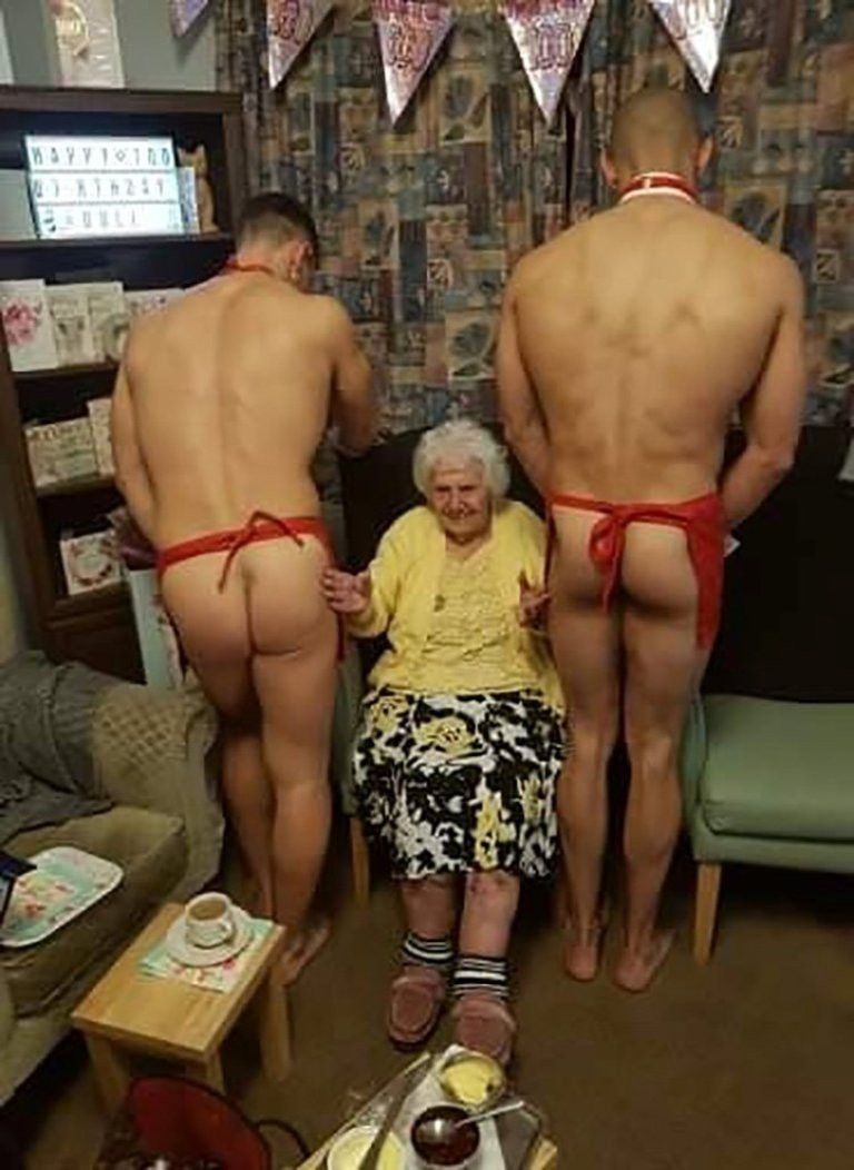 Great-great-grandmother treated to naked men for her 100th birthday party (+18 photos)