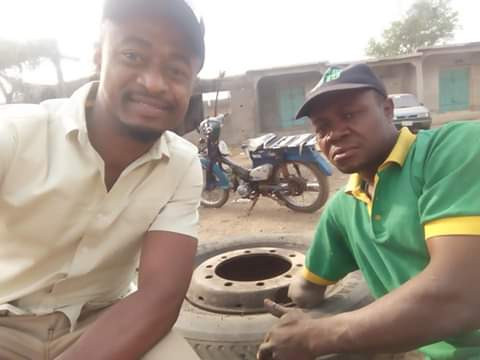 Photos of a physically challenged vulcanizer in Kogi State