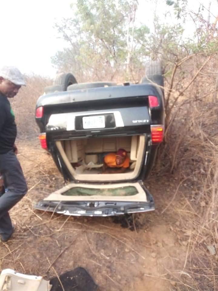 Senator Ahmed Ogembe survives car crash?in Kogi State (Photos)