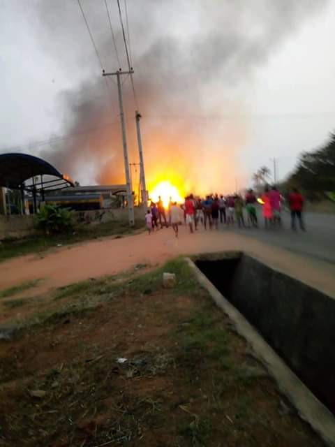 Graphic Photos: Pregnant woman, her two children killed, church razed as gas tanker explodes in Anambra