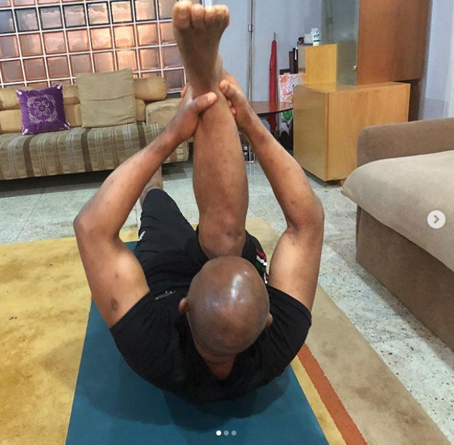 Billionaire businessman Tony Elumelu, 55, shows off his flexibility during Yoga session?(Photos)