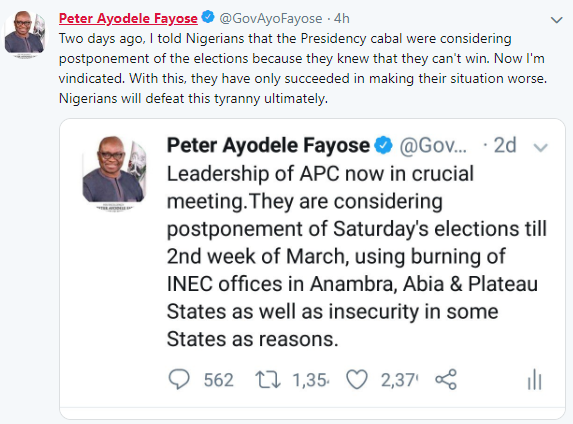 The Cabal In The Presidency Ordered The Postponement Of This Election' - Fayose Alleges