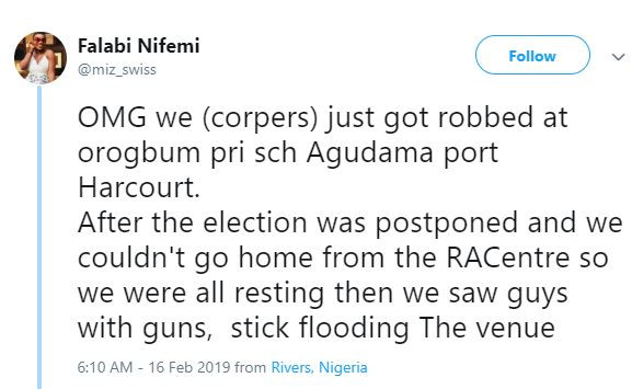 We were robbed at gun-point after INEC postponed the election last night - Female youth corps member cries out