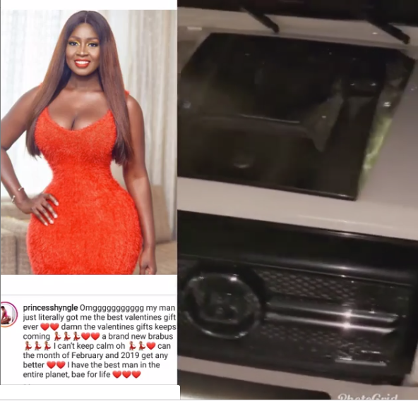 Actress Princess Shyngle shows off the brand new G-Wagon her 'bae of life' gave her for Valentine (Video)
