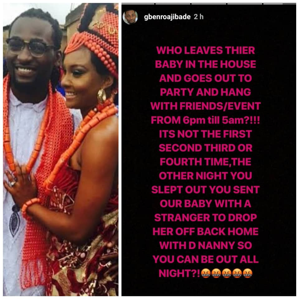 Gbenro Ajibade calls out his wife, Osas, on Instagram