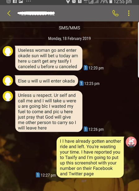 Woman shares her shocking encounter with a rude female Taxify driver in Abuja (screenshots)