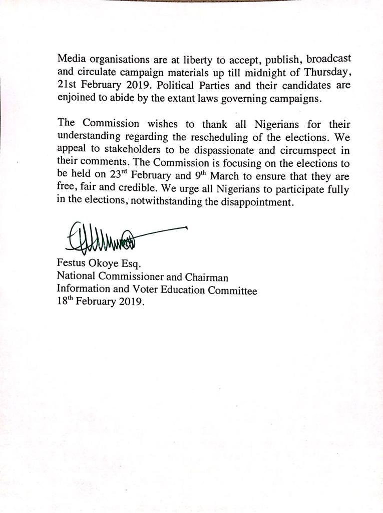 Breaking: INEC okays resumption of political campaigns