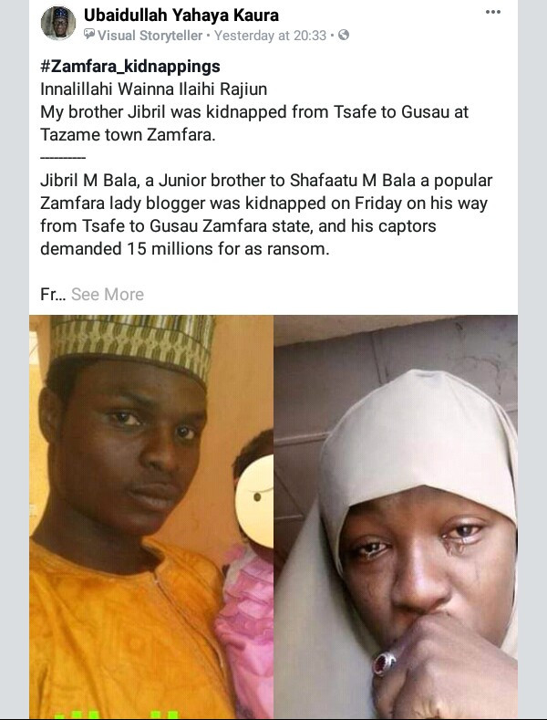 Photos: Zamfara blogger sheds tears as she begs kidnappers to collect N1m and release her younger brother but they insist on N15m
