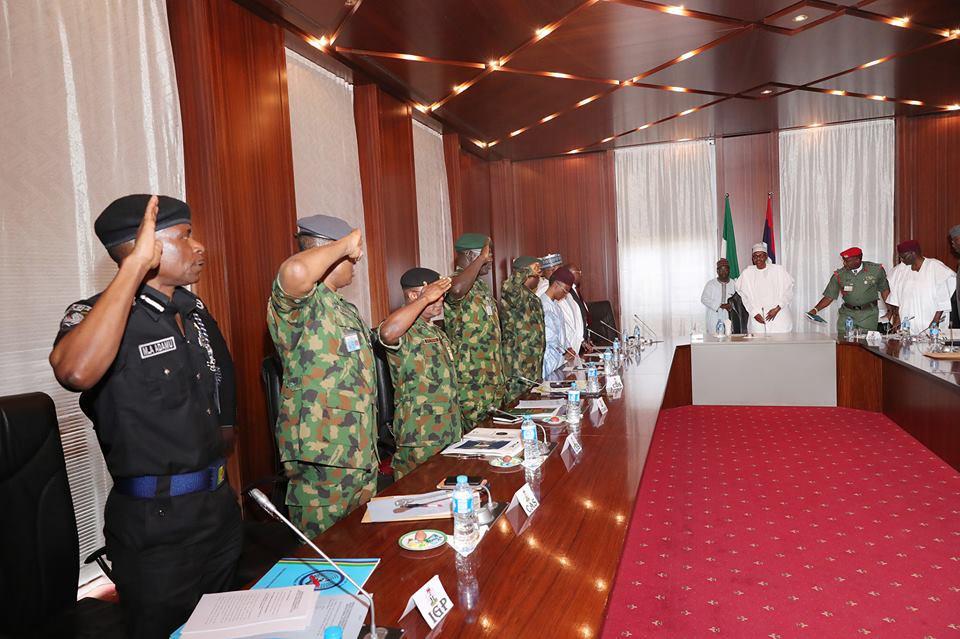 Photos: President Buhari in closed door meeting with IGP