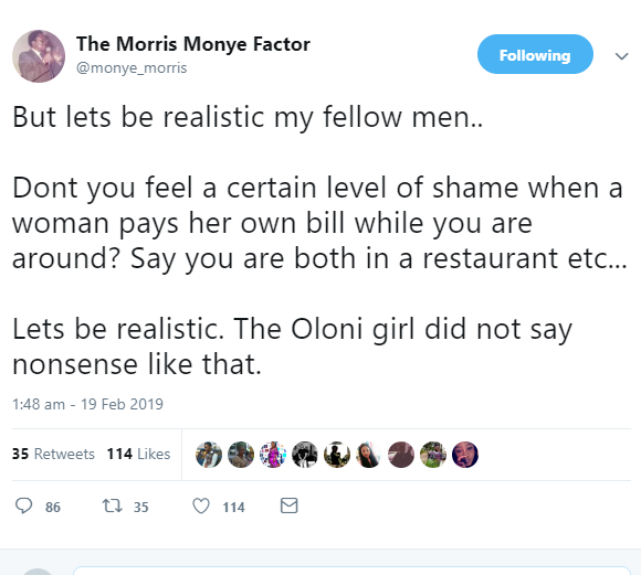 Men, do you feel shame when a woman pays her own bill while you are around? See Twitter users