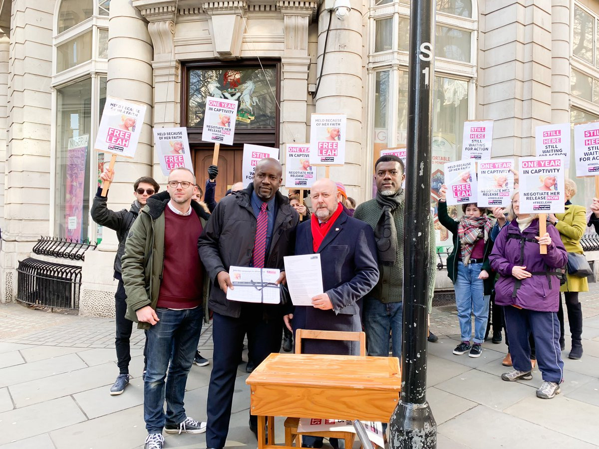 Reno Omokri leads protest to Nigerian Embassy in the UK to mark one year of Leah Sharibu