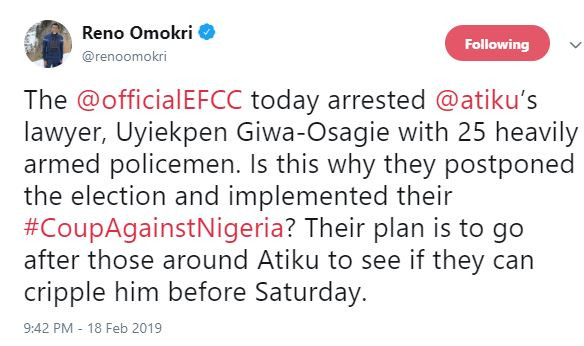 EFCC arrests Atiku?s lawyer Uyi Giwa-Osagie?for?allegedly