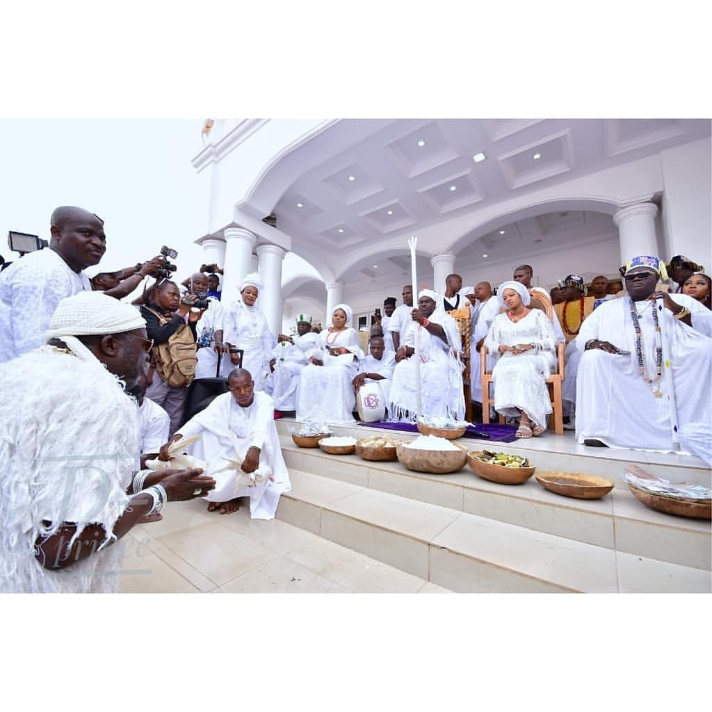 Photos: Ooni of Ife and his wife, Olori Prophetess Naomi, host Aje Festival