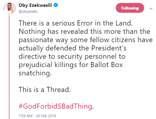 The anger Buhari used to give the order for Ballot box snatchers to be shot was missing when he spoke about killings in Benue, other places- Ezekwesili