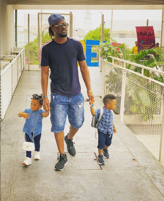 Daddy Duties! Paul Okoye steps out with his adorable twins Nathan and Nadia?(Photos)