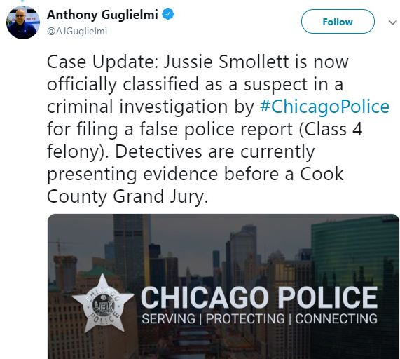 Breaking: Chicago Police officially classifies?Jussie Smollett as a suspect in a criminal investigation for filing a false police report