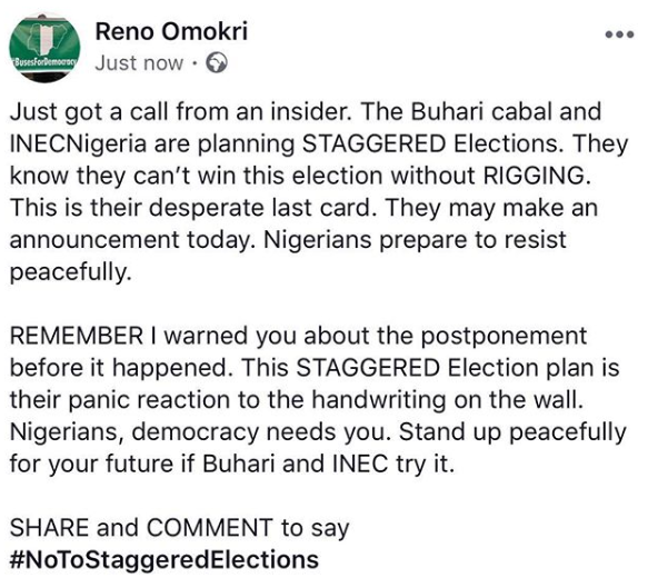 Expect an announcement today, FG planning a staggered election- Reno Omokri
