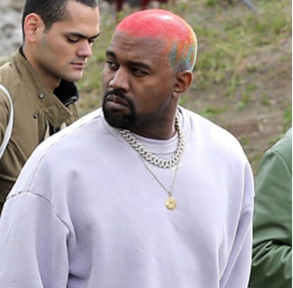 Kanye West shows off his new colorful hairstyle (Photos)