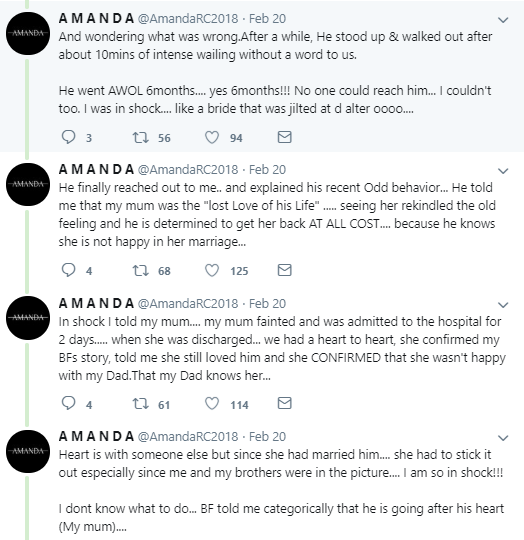 Twitter user narrates how herself and her mum ended up being in love with the same man